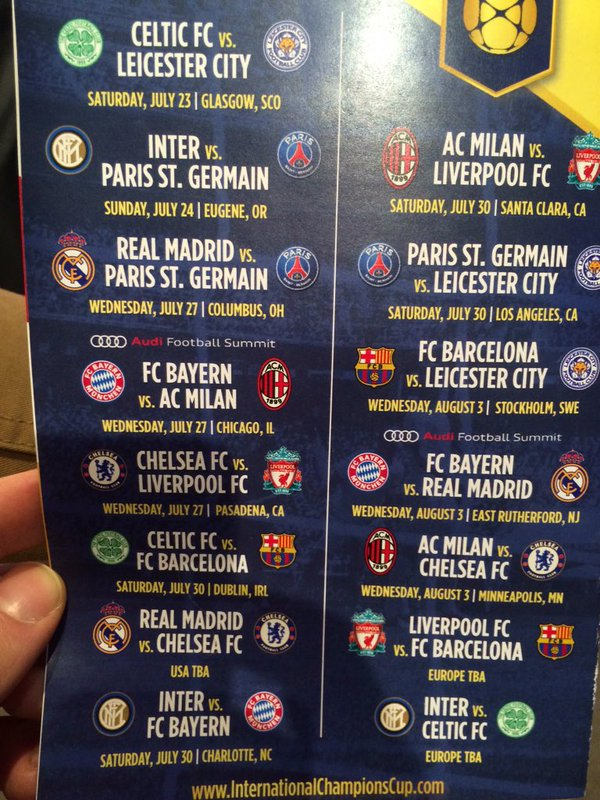 Europa League Calendario Milan.International Champions Cup Schedule Is Released Involving